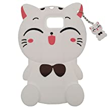 Samsung Galaxy Note 5 Case, BENKER Fashion Cute Cartoon 3D Pattern [ Shockproof Design ] Thick Soft Silicone Back Cover Phone Case - White Cat