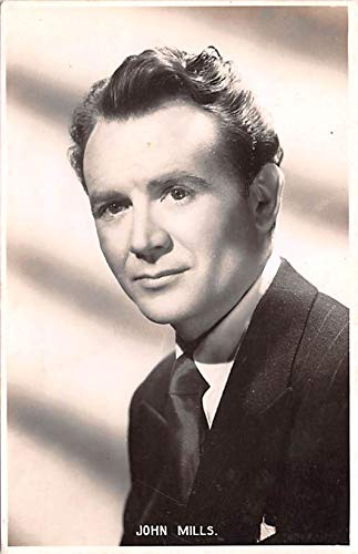 John Mills Movie Star Actor Actress Film Star Postcard, Old Vintage Antique Post Card Paper on back