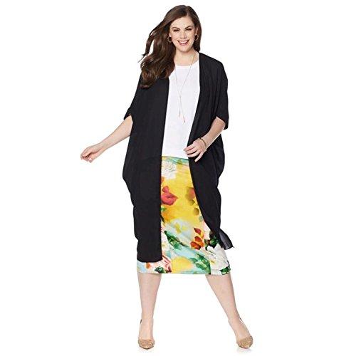 Melissa McCarthy Woven Kimono Top Open Front Stretch Knit Black 1X New (Woven Stretch Knit Top)