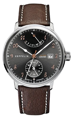 Zeppelin LZ129 Hindenburg Charcoal Gray Dial Brown Leather Band Men's Watch 7062-2