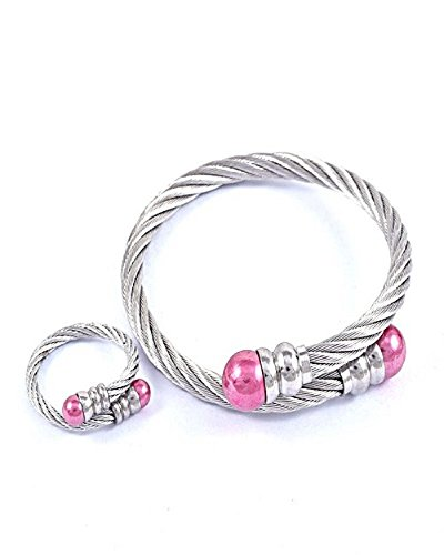 Opal Costume Jewelry (Costume fashion Jewelry Stainless Steel Bracelet Ring Set Jewelry for Women (Pink))