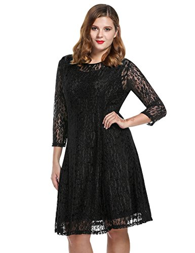 Meaneor Women Plus Sizes Round Neck Long Sleeve Hollow Floral Lace Maxi Short Dress (XX-Large, Black) (20 Plus Homecoming Dresses)