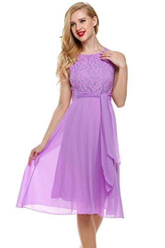 (Zeagoo Elegant Women Vintage Sleeveless Fit Flare Sundress Lace Chiffon Party Cocktail Dress Light Purple)