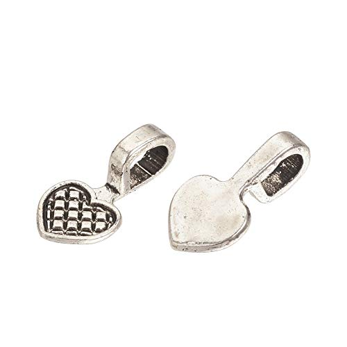 Kissitty 100Pcs Antique Silver Heart Glue on Flat Pad Bails 16x8mm Cadmium Free & Nickel Free & Lead Free Pendant Charms Hanger Connector for DIY Jewelry Craft Making
