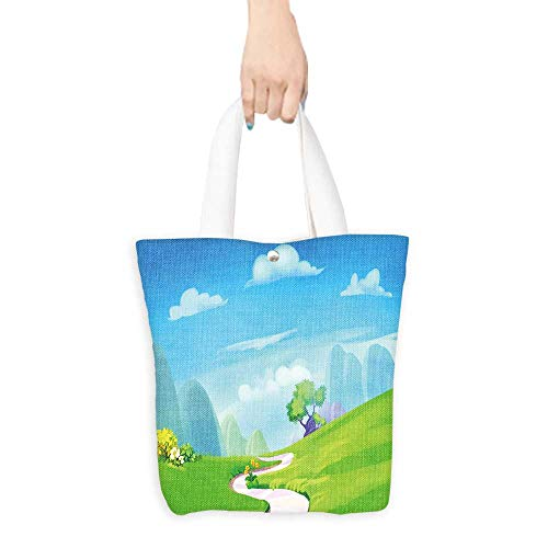 Ecofriendly Shopping Bag Creative Illustration and Innovative Art Clean Green Hill with Road to the Mountain Realistic Fantastic Cartoon Style Artwork Scene Wallpaper Story B(W15.75 x L17.71 Inch)
