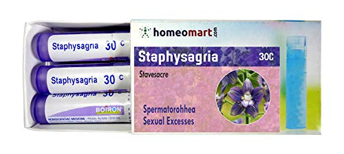 Homeopathy Staphysagria 30C Pills for Spertmatorhhea, Toothache, Pack of 3, Sealed Boiron 4g Tubes