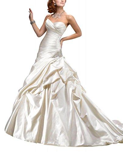 Brautkleider Pick Kapelle GEORGE BRIDE Zug Satin Schatz up Hochzeitskleider Elfenbein wqw7aOR0