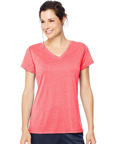 Pink Heather (Hanes Womens Sport Heathered Performance V-Neck Tee, M, Razzle Pink Heather)
