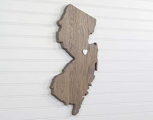 (New Jersey State Shape Wood Cutout Sign Wall Art in Oak. 19