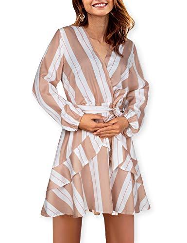 AOOKSMERY Women Sexy Strips Ruffles V-Neck Long Sleeve Empire Waist Short Dress with Belt Camel from AOOKSMERY