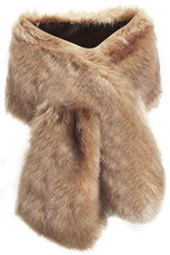 BABEYOND Womens Faux Fur Collar Shawl Faux Fur Scarf Wrap Evening Cape for Winter Coat 47.2