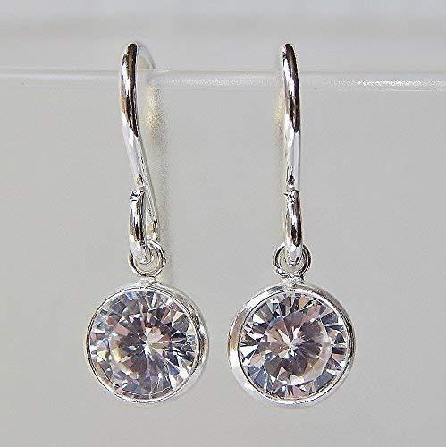 Bezel CZ Dangle Earrings Sterling - Diamond Earrings Set Dangle Bezel