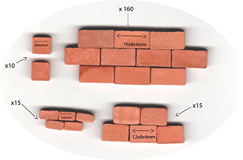 Brick 16X8X4 MM, 12X8X4 MM 8x8x4 mm 4x8x4 mm for Brick Building Kit – Pack of 200 – Ziegelrot for Model Building (Furnitures Brick)