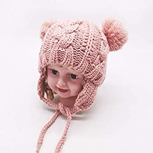 SKays Knitted Hat Girls Baby Boys Winter Hat Children Pure Colour Warm Knitted Wool Hat Hairball Cap