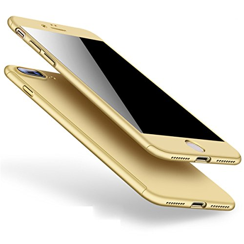 (Designed for iPhone 7 Plus/8 Plus Case 360 Protection Shockproof Full-Body Screen Protector (Gold))