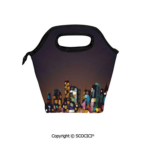 Picnic Food Insulated Cooler Tote Lunch Bag Cityscape at Night Abstract Display with Silhouettes with Colorful Dots Bokeh Effect Organizer Lunchbox for Women Men Kids.]()