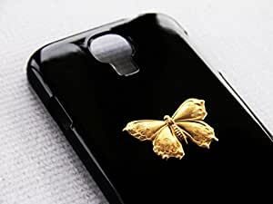 Butterfly Snap On Black S4 SIV Galaxy Shiny Gold Case Flying Phone Cute Protector Wings