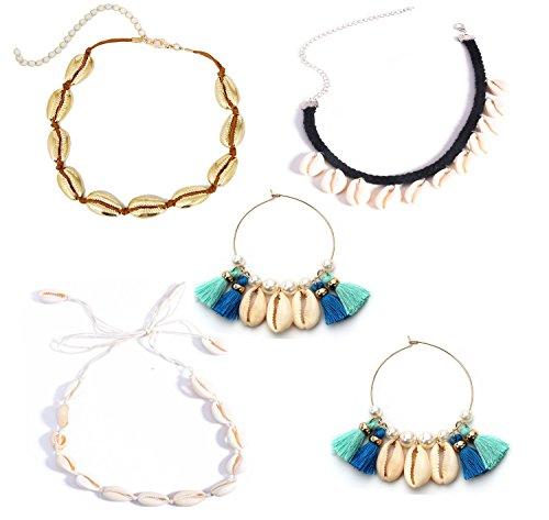 (Mrotrida Shell Choker with Shell Earrings Fashion Beach Shell Pendant Necklace Set for Women Girls Beach Bikini 4 Set)