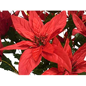 "RED Christmas Poinsettia Bush 24 Artificial Silk Flowers 24"" Bouquet 030RD 117"