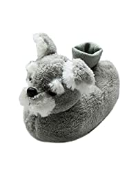 Onmygogo Fuzzy Winter Indoor Schnauzer Dog Animal Slippers for Toddler and Little Kids