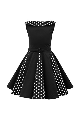 BlackButterfly Kids 'Alexia' Vintage Polka Dot 50's Girls Dress (Black, 9-10 YRS) (Kids Black Dresses)