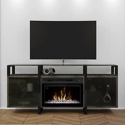 DIMPLEX Electric Fireplace, TV Stand, Media Console, Space Heater and Entertainment Center with Glass Ember Bed Set in Rift Chrome Finish - Milo #GDS25GD-1831RC