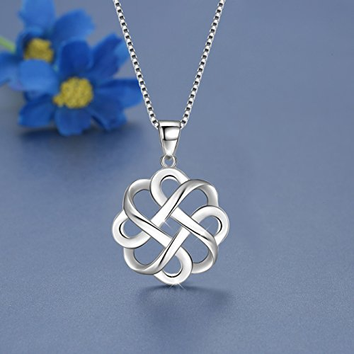JUFU 925 Sterling Silver Good Luck Polished Celtic Knot Cross Pendant Necklace For Womens (Silver) (Celtic knot A) by JUFU (Image #4)