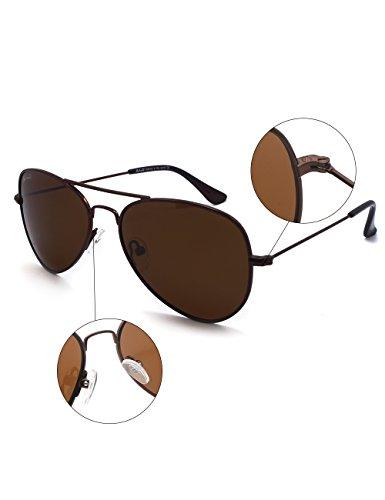 Metall Flieger Rahmen Kleines Gesicht Männer Frauen Teenager UV400 Polarisiert Sonnenbrille (Schwarz Rahmen + Graue Linsen) 7ggSdO16lw