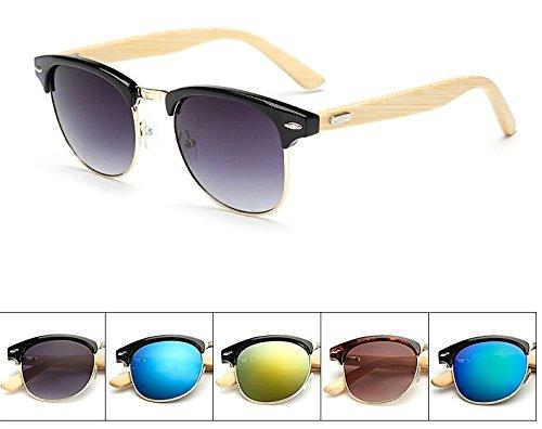UV400 de Madera de Caña con Classic Sol de Bambú Gafas Master Protección Ducomi Azul Negro RAq1xww