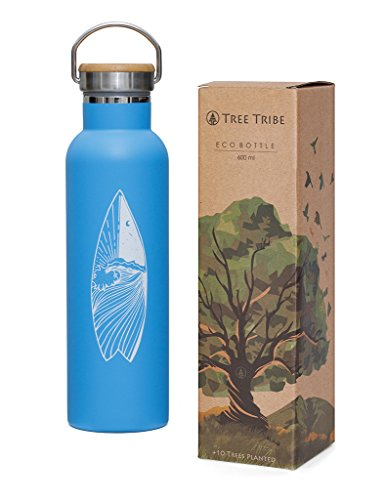 Tree Tribe Stainless Steel Blue Water Bottle 20 oz - Surf Day and Night - Indestructible, BPA Free, 100% Leak Proof, Double Wall Insulated for Hot and Cold, Wide Mouth