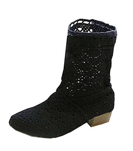 Minetom Women Summer Autumn Lace Hollow Boots Mid-calf Summer Boots Crochet Hollow Out Chunky Heels Ankle Boots Black