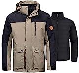 Wantdo Men's 3-in-1 Winter Coat Waterproof Wind Block Jacket Anorak Khaki L