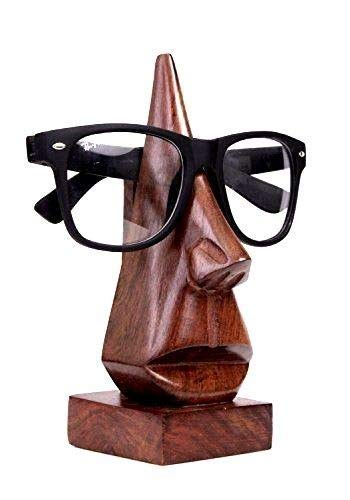 Classic hand carved Nose-shaped witty wooden spectacle holder, eyeglass display stand, eyewear retainer, specs stand, sunglasses holder for men and women (Brown, 6 ()