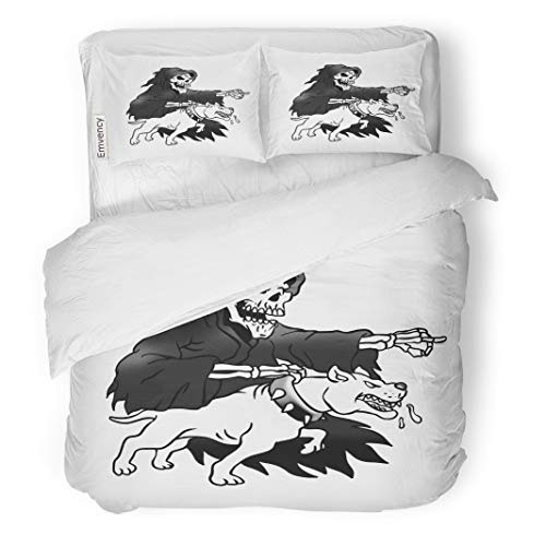 Semtomn Decor Duvet Cover Set King Size American Grim Reaper Pit Bull Animal Black Breed Cartoon 3 Piece Brushed Microfiber Fabric Print Bedding Set Cover -