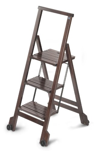 BIBLIO 3 - Classy Folding 3 Steps Ladder in Solid Beech Wood - Handcrafted in Italy - Wenge - Wenge Finish Wood