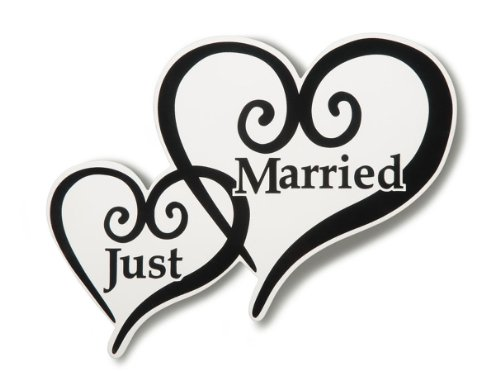 Just Married Heart Car Magnet ()