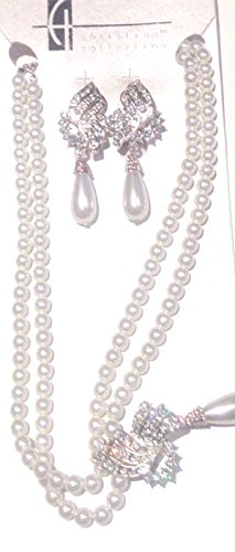 two-strand-white-pearl-sparkling-crystals-short-chain-necklace-earrings