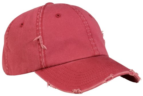 District Threads DT600 Distressed Cap - Dashing Red - One Size (Hats For Wholesale)