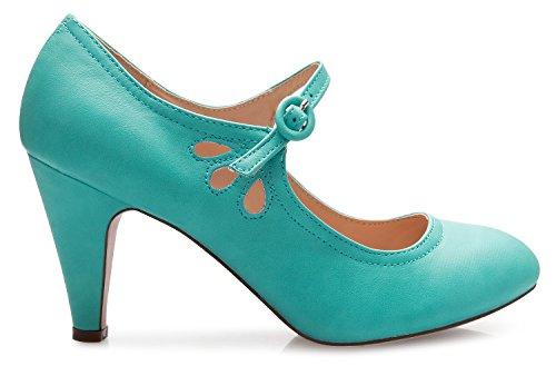 OLIVIA Kitten Unique Pumps K Adorable an Strap Adjustable Heels Toe Vintage Jane Round Women's Design Shoes Mint Mary ErfwxqvEp