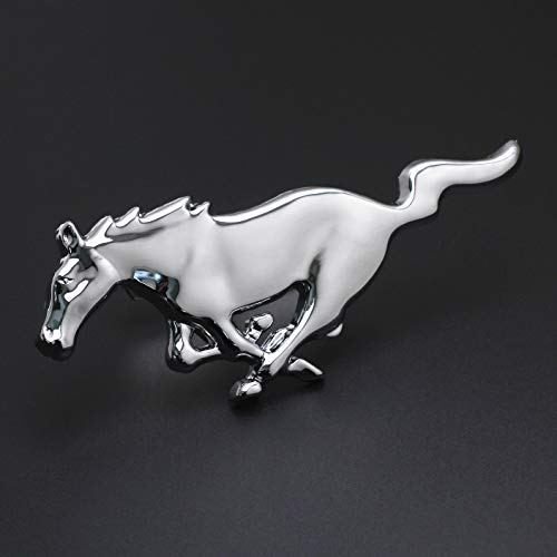 Bright Silver Running Horse For Ford Mustang Front Grille W/Mount Emblem Badge
