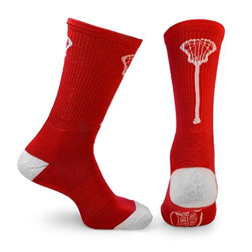 ChalkTalk SPORTS Athletic Half Cushioned Lacrosse Crew Socks | Mid Calf | Lacrosse Single Stick | Red & White - Team Usa Lacrosse Hoodie