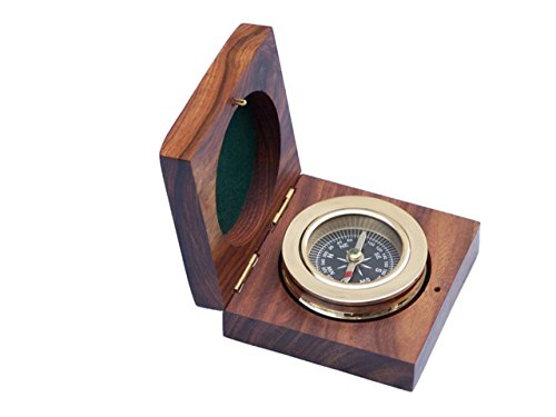 Hampton Nautical CO-0607-boxed Brass Paperweight Compass with Rosewood Box 3