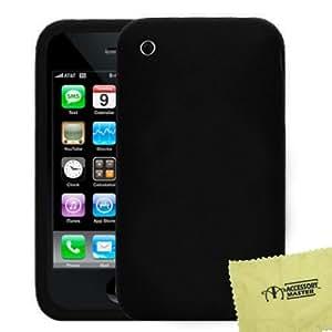 Accessory Master- Negra Funda Carcasa de Silicona con un Protector de Pantalla para Apple iPhone 3G