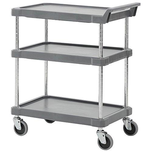 Hubert Plastic 3-Tier Serving Cart in Charcoal Grey by Hubert