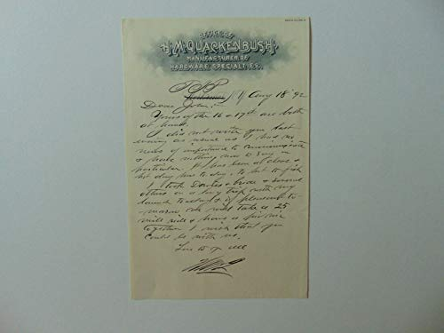 """RARE!""""Air Rifles"""" Henry Quackenbush Hand Written Letter Dated 1892 Mueller COA from Unknown"""
