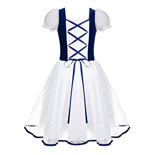 (Yeahdor Girls Kids Bubble Short Sleeve Velvet Ballet Dance Performance Tutu Gymnastics Leotard Fancy Ballerina Costumes Royal Blue 5-6)