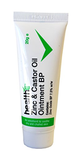 healthE - Zinc & Castor Oil Ointment BP - Suitable for Eczema, Dermatitis, Diaper Rash, Chapped Skin, Dry Skin, Itchy Skin, Inflamed Skin, Windburn, and Chaffing (20g Tube)