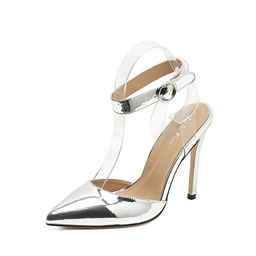 ZHZNVX La delgada película transparente sandalias de punta fina sexy con tacones altos Silver