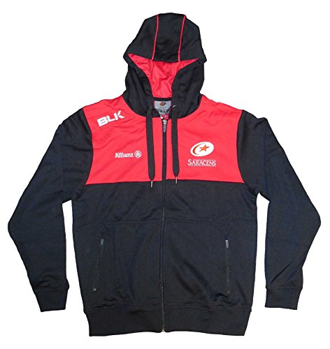 Saracens Rugby - Blk sport Saracens 2017/18 Players Full Zip Hooded Rugby Sweat, Black, XL