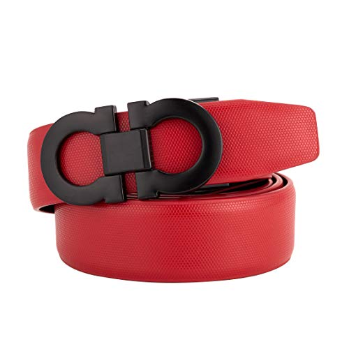 Genuine Leather Fashion Dress Belt Adjustable Comfort Fit on Double Shiny Buckle Red (Red-black2, 27''-49'')